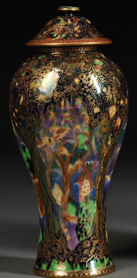Fairyland Lustre Cat and Mouse Vase