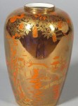 Fairyland Lustre Coral and Bronze Vase